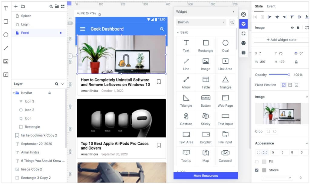 Geek Dashboard Android App Feed Mockup with Wondershare Mockitt