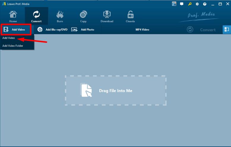 Leawo Blu-ray Ripper add a file
