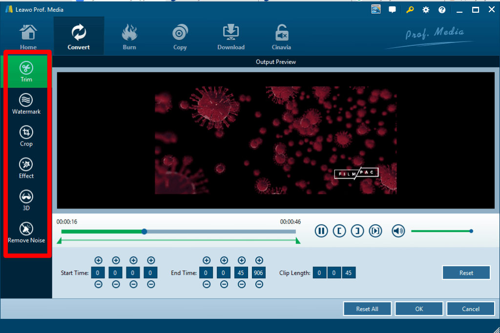 Leawo Blu-ray Ripper options to edit videos