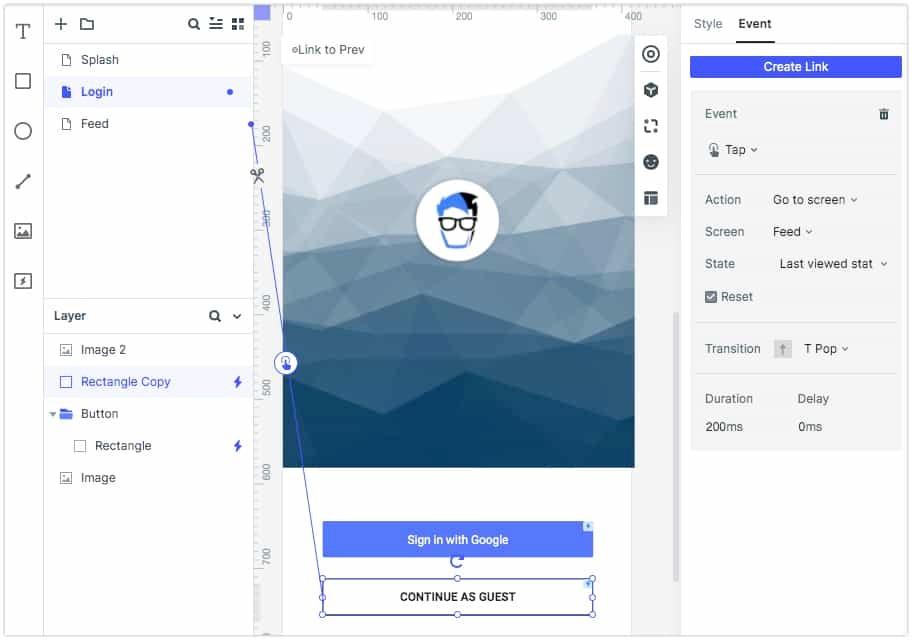 Wondershare Mockitt Events for Screen Navigation