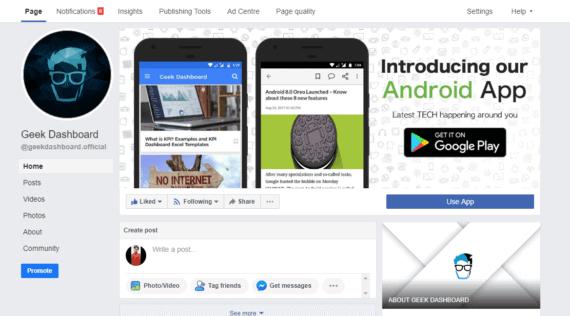Homepage of Geek dashboard in classic facebook