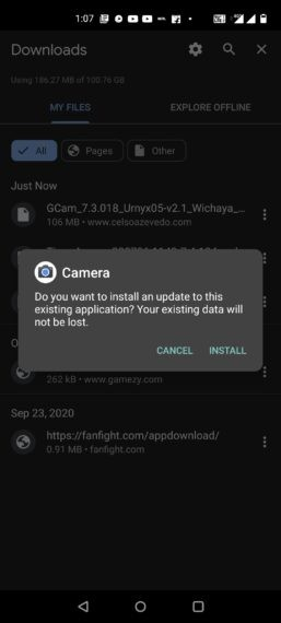 Gcam (Google camera) install screen