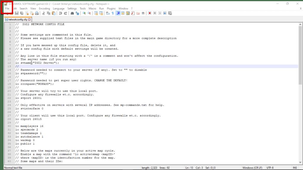 Notepad++ file menu