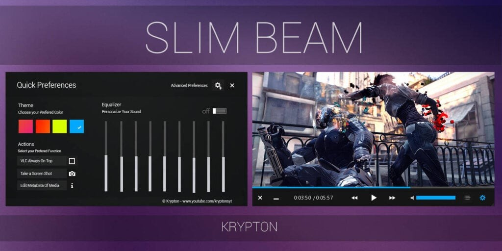 Slim Beam by Krypton - Best VLC Skins