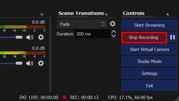 Stop Recording in OBS to record Discord audio