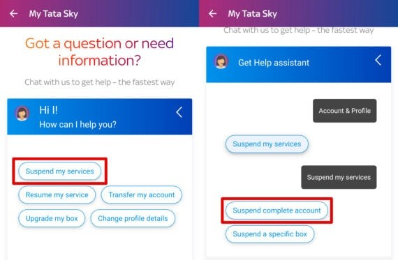 Suspend Complete Account - Tata Sky Temporary Account Suspension