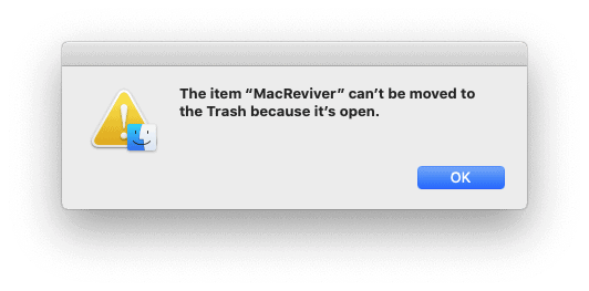 Mac pop-up stating that an app can't be removed because it's open