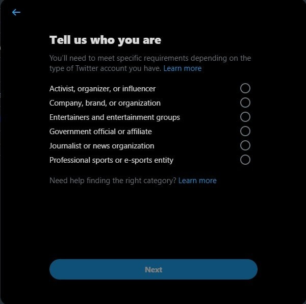 Verifying your Twitter account: Verification Fields