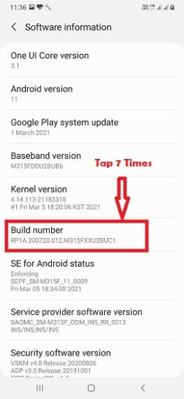 Tap on Build Number to Enable Developer Mode