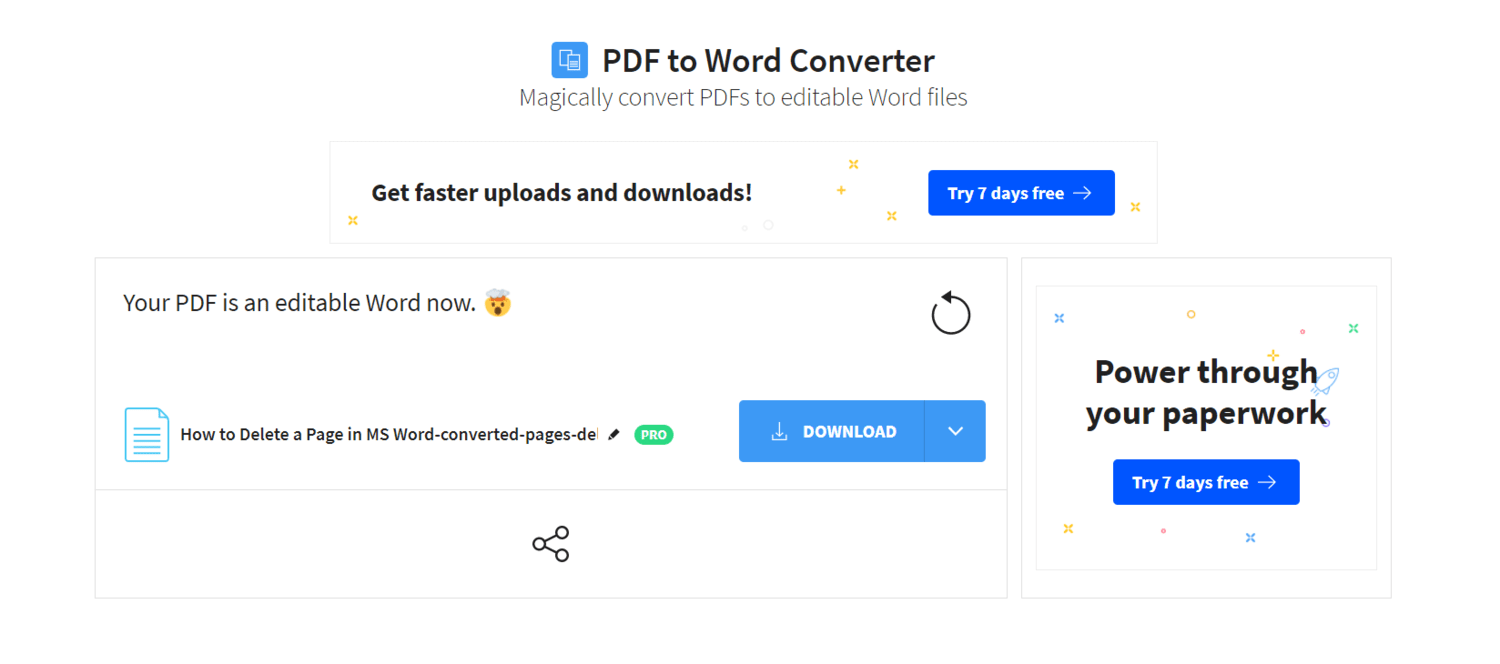 Delete a Page in Word: Download the Converted Document