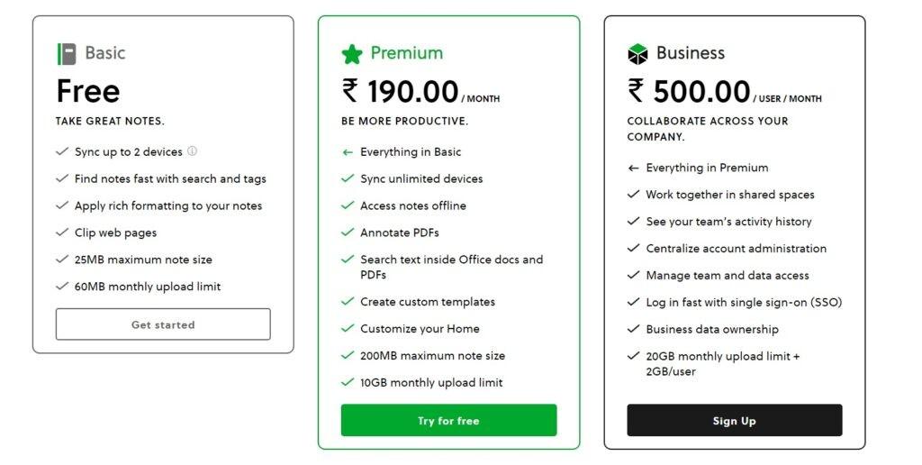 Evernote vs Notion: Evernote Pricing
