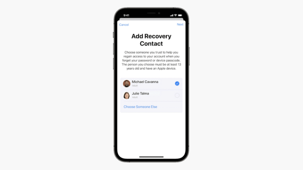 iOS 15 - Add Recovery Contact