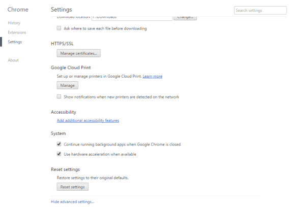 reset settings in chrome