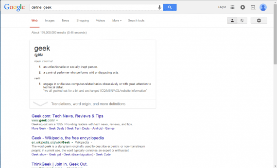 See Definitions in Google Search