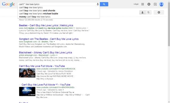Song lyrics in Google Search