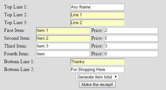 Custom receipt