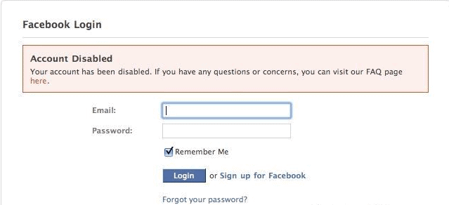 Facebook account that was temporarily disabled