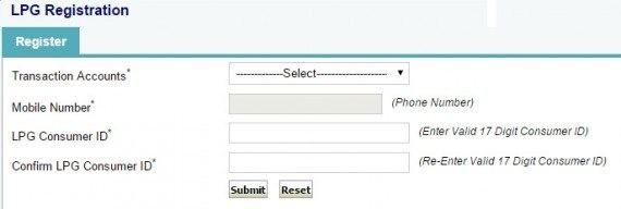 LPG Registration in SBI Net banking