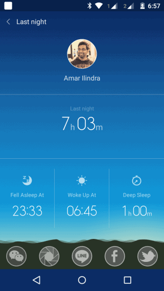 Mi Band Tracks your sleeping hours