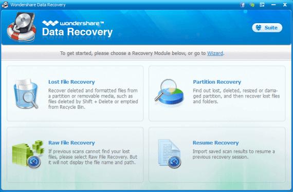 Wondershare Data Recovery Modules