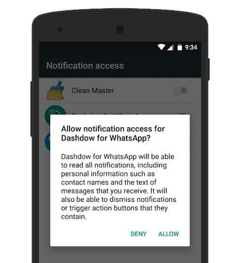 Click Allow to enable Notification Access for WhatsApp Chat Heads