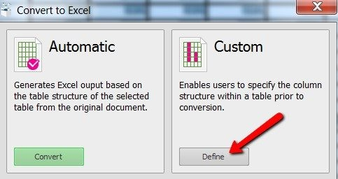 automatic or custom option while converting pdf to excel