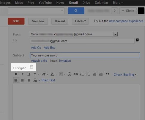encrypting email in gmail