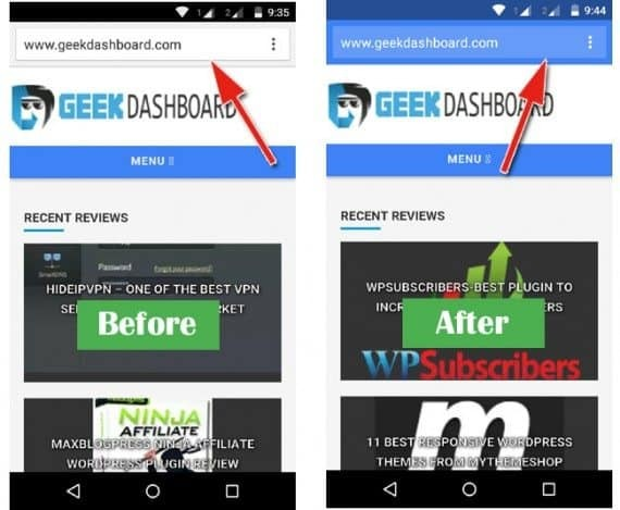 how to change color of google chrome address bar
