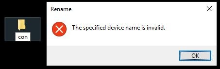 you can not create con folder in windows