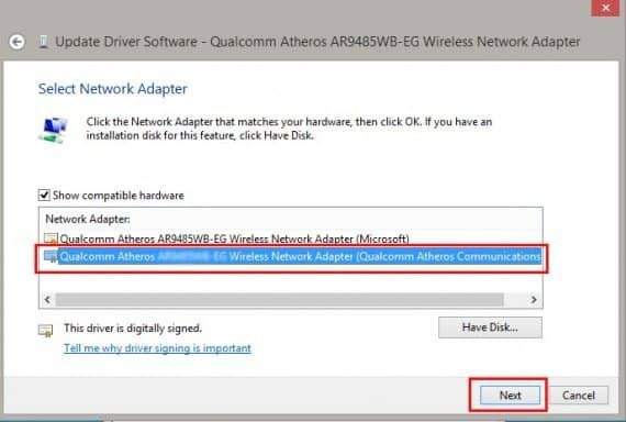 update Wireless Network Adapter drivers