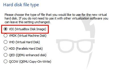 Select Hard disk file type as VDI