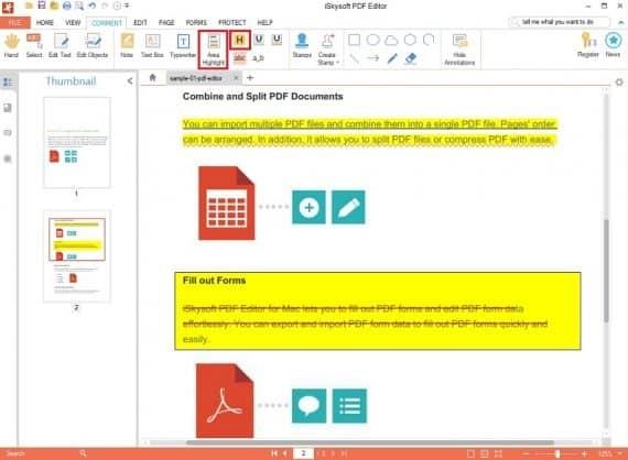 iSkysoft PDF Editor Highlight PDF Feature