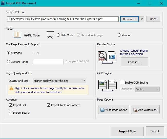 import pdf to edit