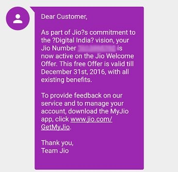 Jio activation welcome message