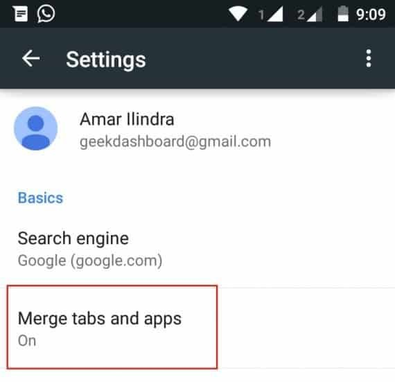 disable merge tabs and apps
