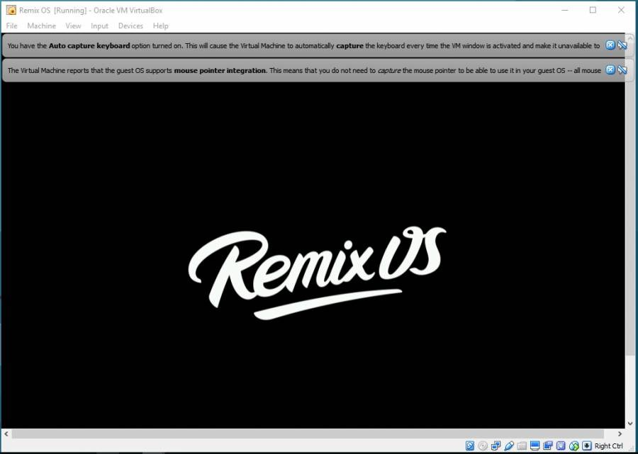 Remix OS is loading virtually