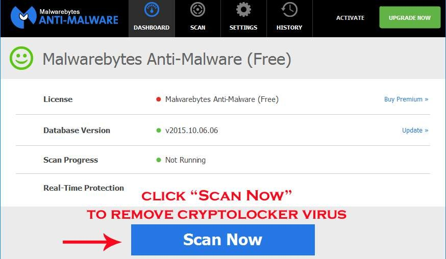 scan to remove cryptolocker virus