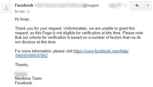 Facebook page verfication request rejected