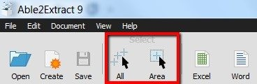 select area to convert pdf to word