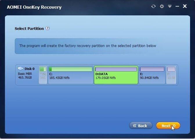 select partition to backup