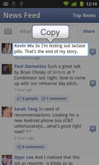 copy text on facebook app