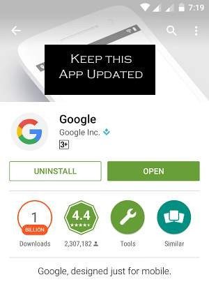 update google app to fix Google Search has stopped error