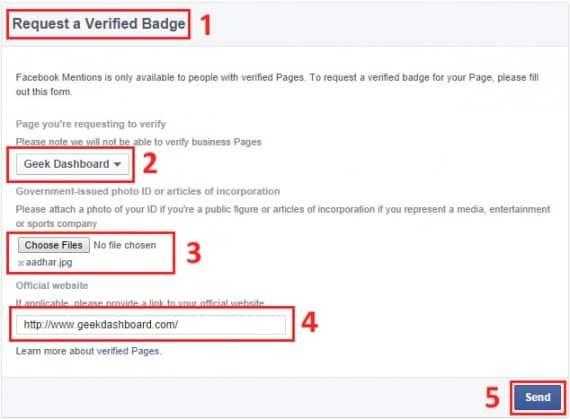 verify facebook page