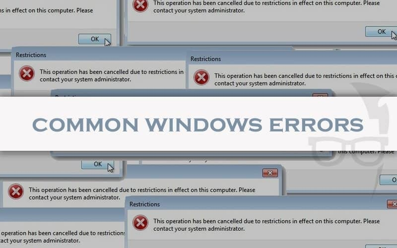 windows error messages